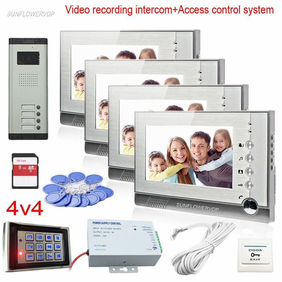 Access Control Keypad Video Doorman House 4 Buttons CCD Door Camera Doorphone Entrance Telephone Rfid Code Video Recording Kit