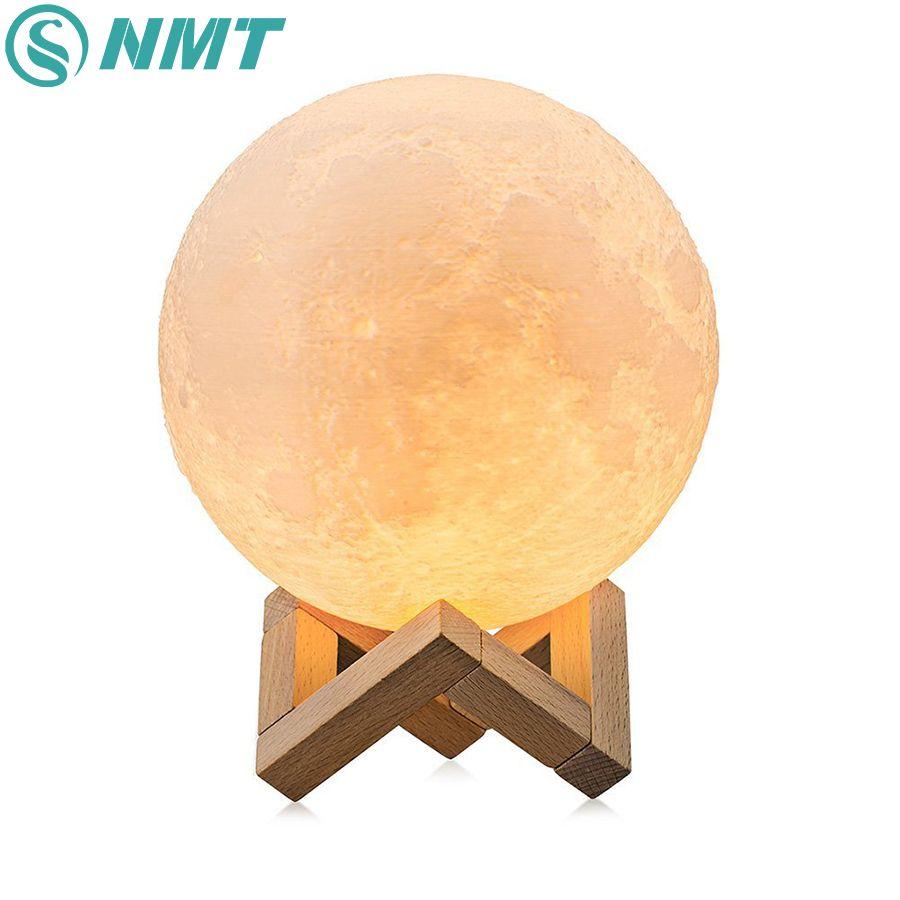 Dropshipping 3D Impression Lune Lampe de Nuit Coloré Changement Tactile Commutateur USB Rechargeable LED Night Light Home Decor Creative Cadeau