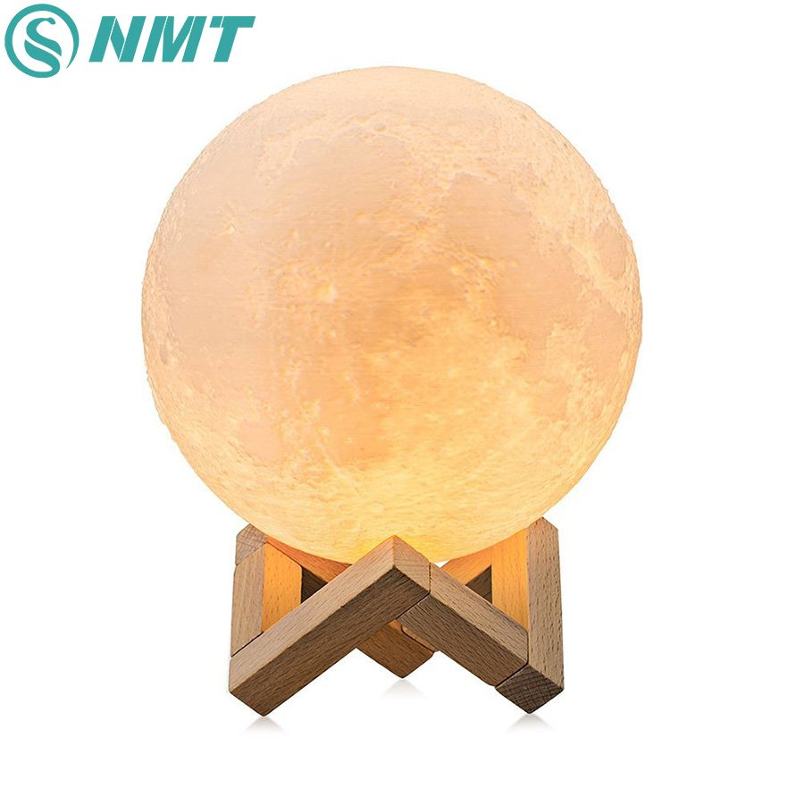 Dropshipping 3D Impression Lune Lampe de Nuit Coloré Changement Tactile Commutateur USB Rechargeable LED Night Light Home Decor Creative Cadeau
