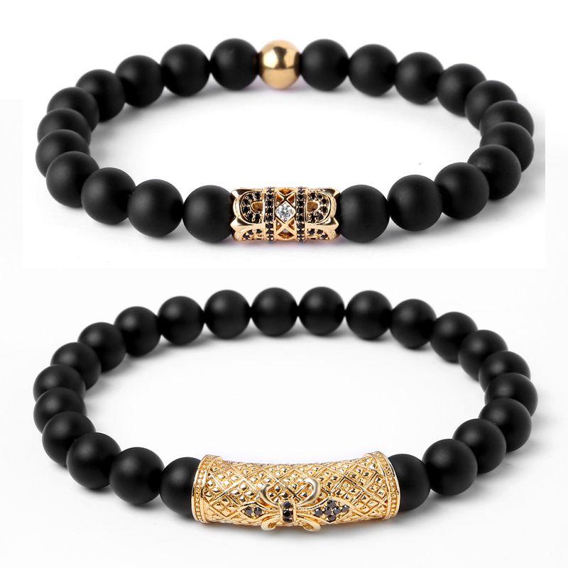 Mcllroy 8mm Black Nature Oxy Stone Beads Bracelet For Woman Men Jewelry Lion Charms Bracelet Men CZ Paved Anchor Charms