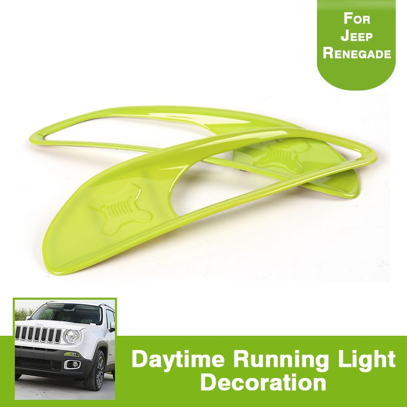 For Jeep Renegade abs Day Light Trim Lamp Cover Exterior Decoration Accessories Green 2PCS