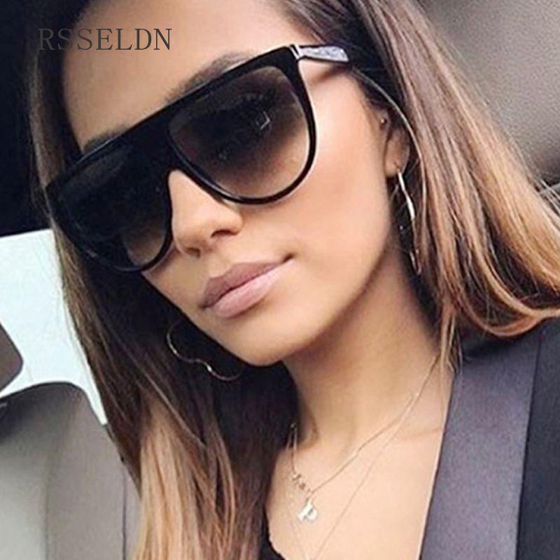 RSSELDN Nouveau Noir Clair Surdimensionné Carré lunettes de Soleil Femmes Gradient 2018 D'été Style Classique Femmes lunettes de Soleil Grande Place UV400