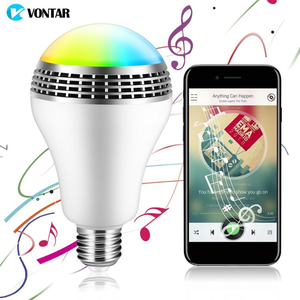 Vontar Bluetooth Smart Динамик свет E27 Светодиодный белый + RGB лампа Smart Музыка Аудио Bluetooth Динамик + Дистанционное управление для дома