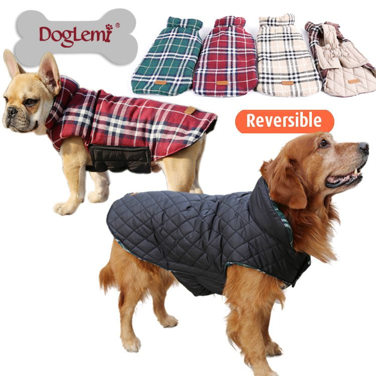 Waterproof Reversible Dog Jacket Designer Warm Plaid Winter Dog Coats Pet Clothes Elastic Small to Large Dog Clothes Winter