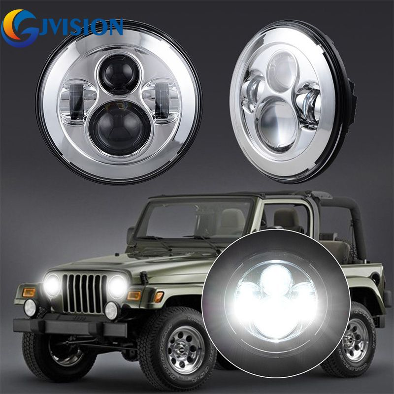 2PCS 7'' Round Auto led Projector headlight for Jeep Wrangler TJ JK LJ AM General Hummer Hi/Lo beam H4 LED Headlamp Bulbs