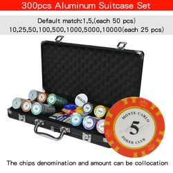100-500 Pcs/set Kasino Texas Tanah Liat Poker Chip Set PokerStars Koper Aluminium dengan Bermain Kartu & Dadu & Eksportir buttom & Meja