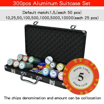 100-500PCS/SET Casino Texas Clay Poker Chip Sets Pokerstars Aluminum Suitcase with Playing cards&Dices&Dealer Buttom&Table Cloth
