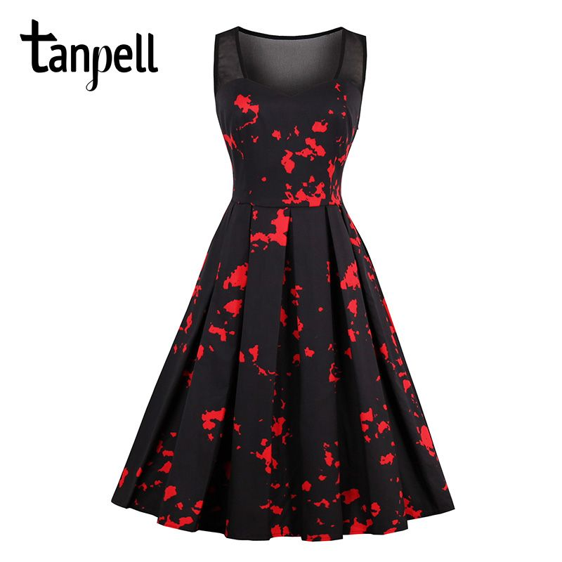 Tanpell short homecoming dress black print sleeveless knee length a line gown cheap women vintage young party homecoming dresses
