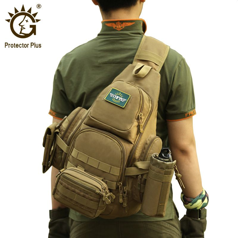 Protector Plus 20-35L Tactical Sling Bag, 14 Laptop Waterproof Molle Military Backpack, Camping Hiking <font><b>Hunting</b></font> Sport Bag