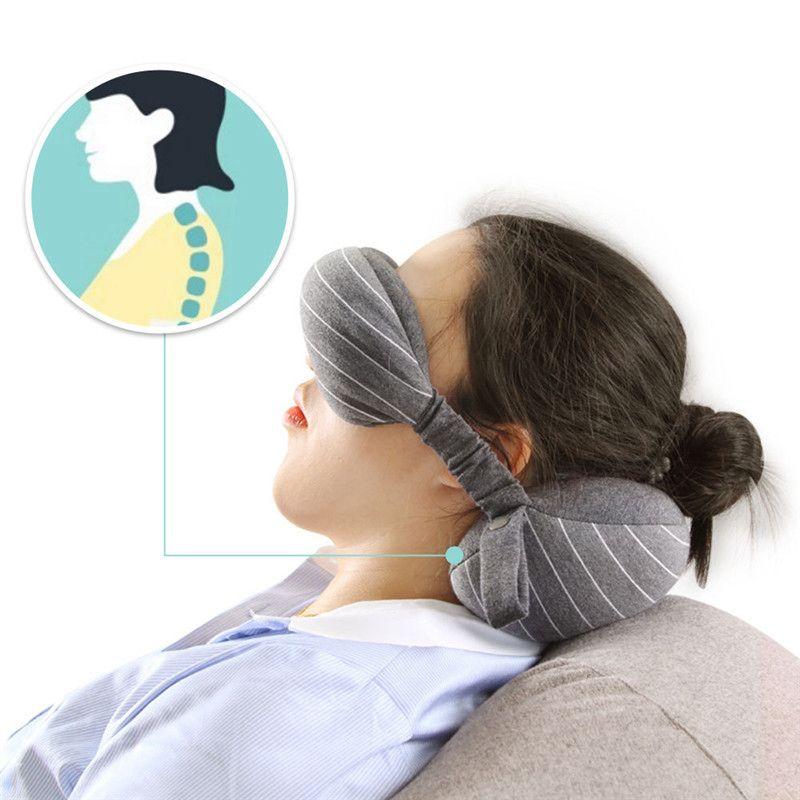 XC USHIO 2019 New 2 in 1 Grey Travel Neck Pillow & Eye Mask & Storage Bag with Handle Portable Comfortable Elegant Hand Washable