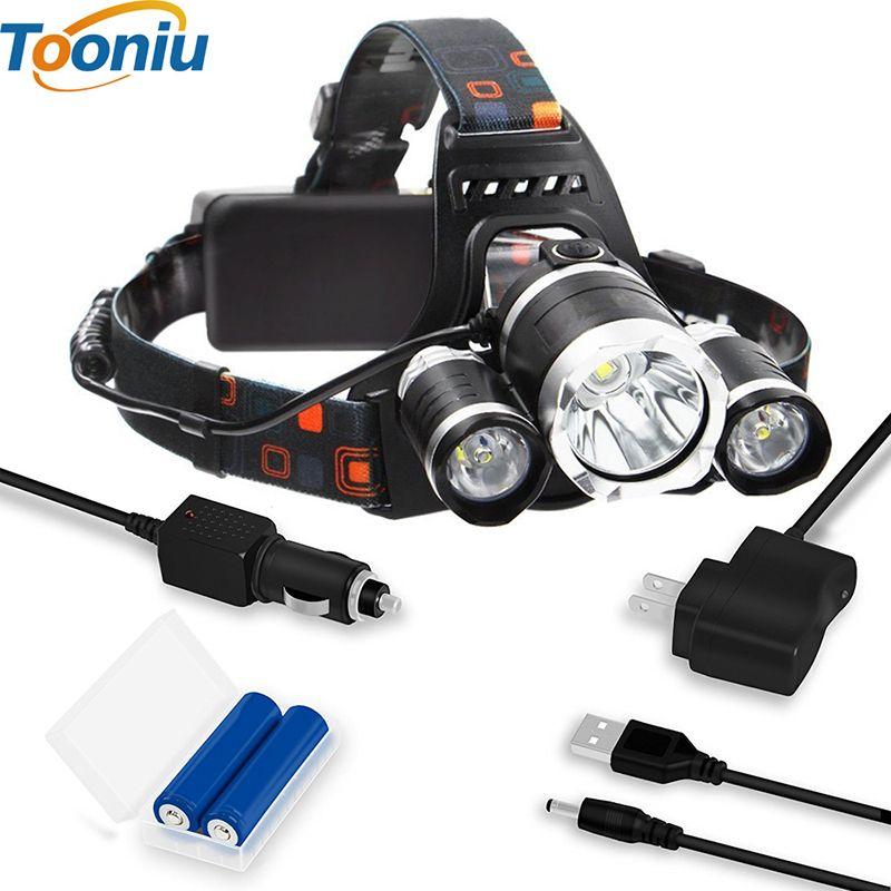 Rechargeable Headlight 13000Lm xm-T6 3Led HeadLamp head light Fishing Lamp Hunting Lantern +2x 18650 battery +Car/AC/USB Charger