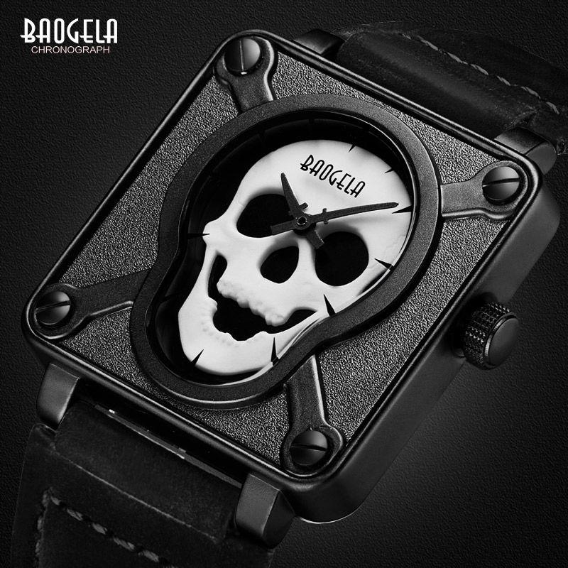 Baogela mens impermeable negro marrón correa de cuero dial del cuadrado del cuarzo relojes de pulsera con cráneo luminoso bgl1701