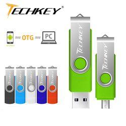 OTG Usb Flash Drive Techkey 8gb 16gb 32gb Pen drive 64gb 128gb флешка mobile phone flash memory stick Multifunctional pendrive