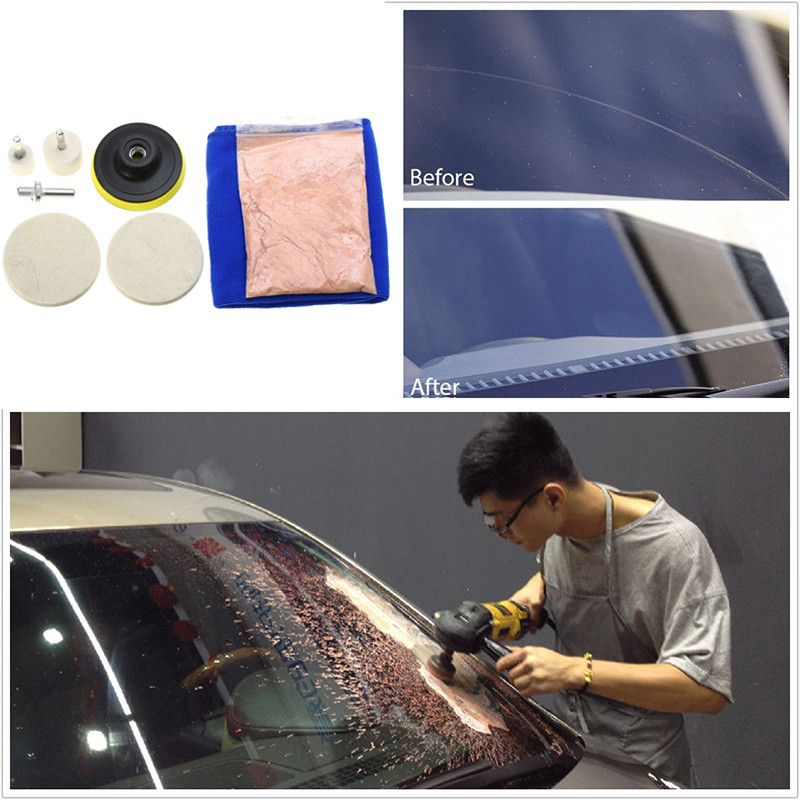 1set Durable Universal Auto Car Windscreen Window Scratch Repair Remover Glass Polishing Kit Hand Polishing Grinding Tool