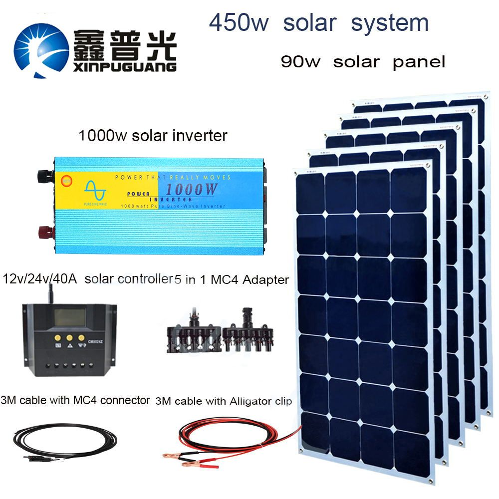 450w solar system 90w Aluminum solar panel 1000w inverter 40A controller MC4 connector cable 5 in 1 adapter 12v charge