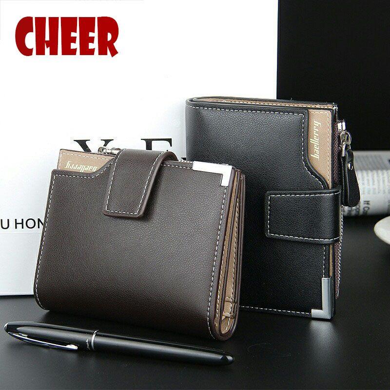 Portefeuille en cuir pour hommes de marque Baellerry portefeuille à fermeture à glissière portefeuille pratique de luxe porte-monnaie court 3 fois hommes porte-monnaie cartes portefeuilles