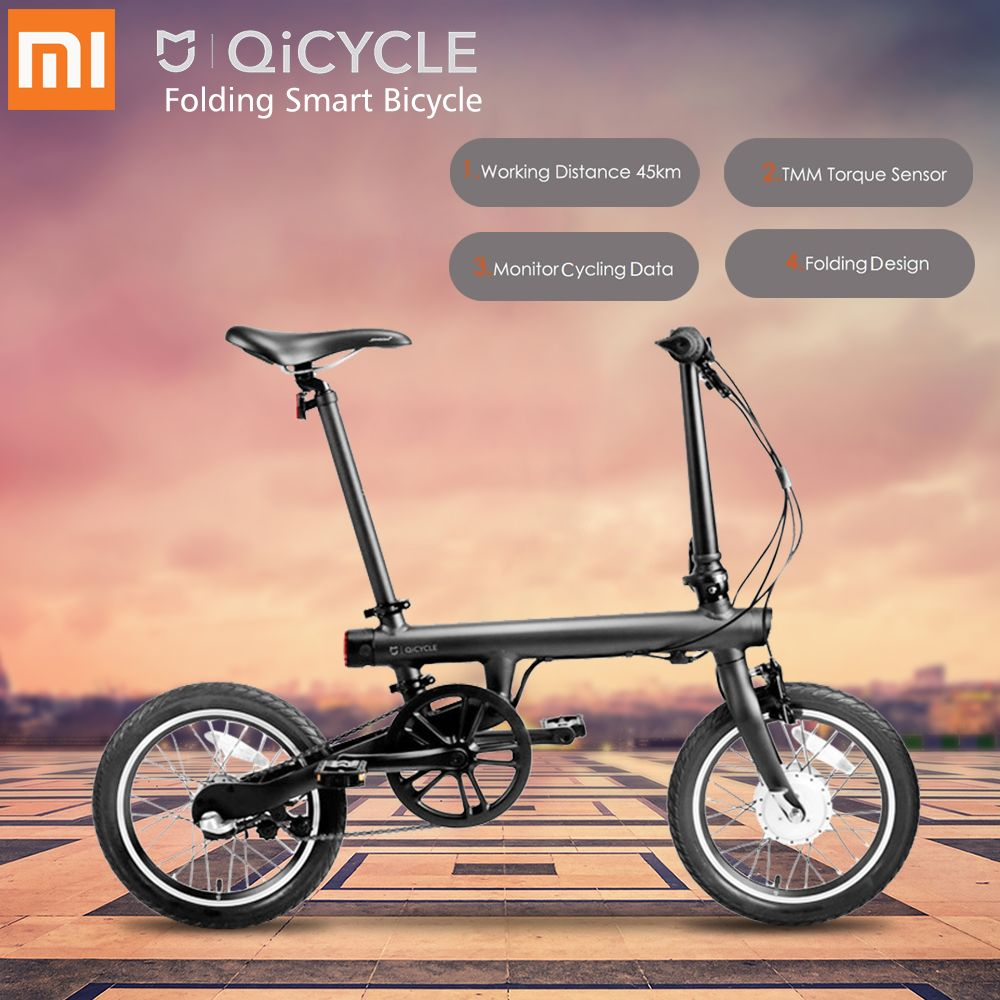 Original Xiaomi QiCYCLE-EF1 Falten Elektro-bike Bluetooth Smart Elektrische Fahrrad 16 zoll Fahrrad Unterstützung APP 100% OHNE STEUER