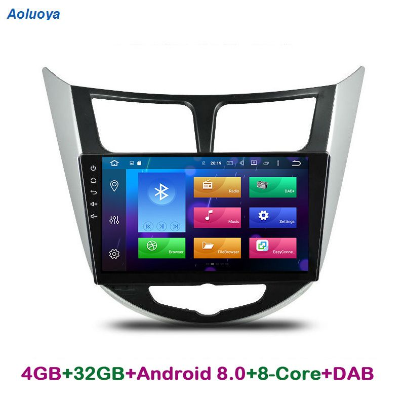 Aoluoya RAM 4GB Octa Core Android 8.0 CAR DVD GPS PLAYER For Hyundai Verna Accent Solaries 2010-2015 Radio Navigation head unit