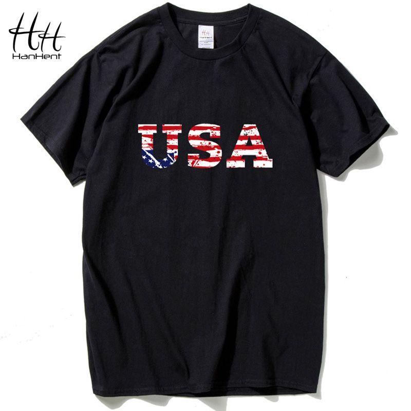HanHent USA drapeau américain t shirt hommes marque Jersey 2016 nouveau mode t-shirt Hip Hop Fitness à manches courtes vêtements pour hommes