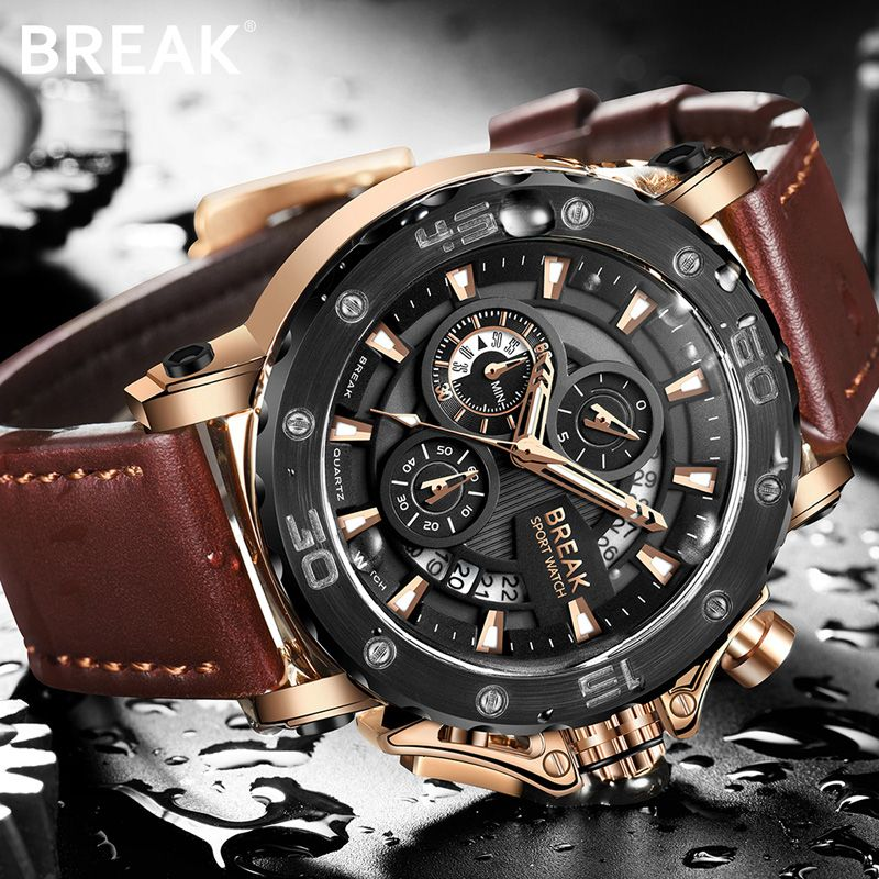 BREAK Men Wrist Watch Quartz Watches Men Luxury Brand Gold Military Genuine Leather Watch for men relogio masculino kol saati