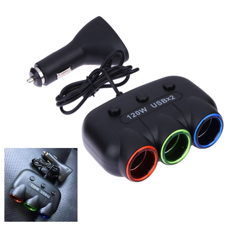12V-24V 5V/2.1A 120W Auto Car Cigarette Lighter Splitter Socket USB DC Car Power Charger Adapter with Dual USB Port for iPhone