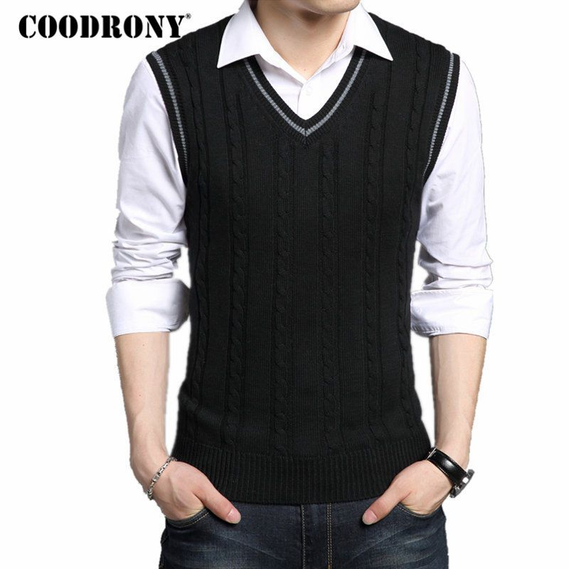 COODRONY Wool Vest Men 2018 Autumn Winter New Classic V-neck Sleeveless Sweater Men Cotton Knitwear Pull Men Brand Clothing 7401