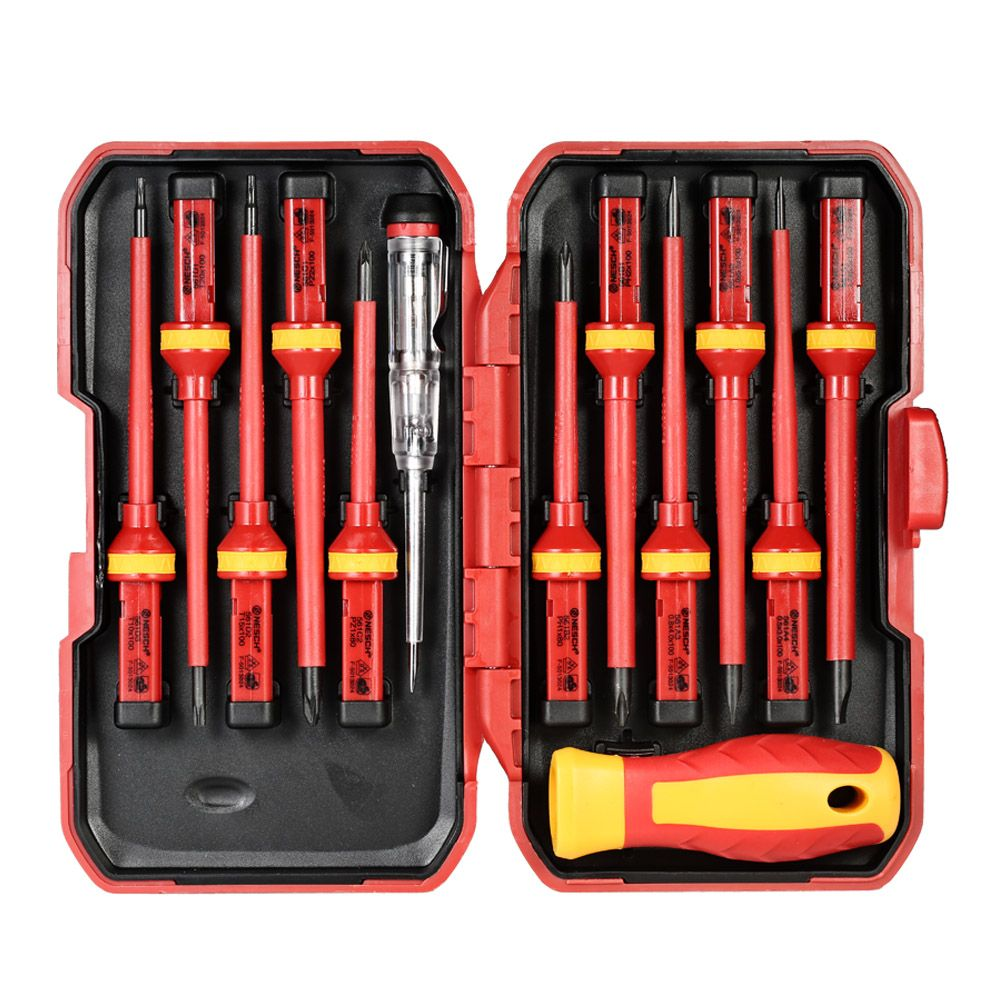 13pcs 1000V Hand Tools Set Changeable Insulated Screwdrivers Set with Slotted Pozidriv Torx Bits Electrician Repair Tools Kit