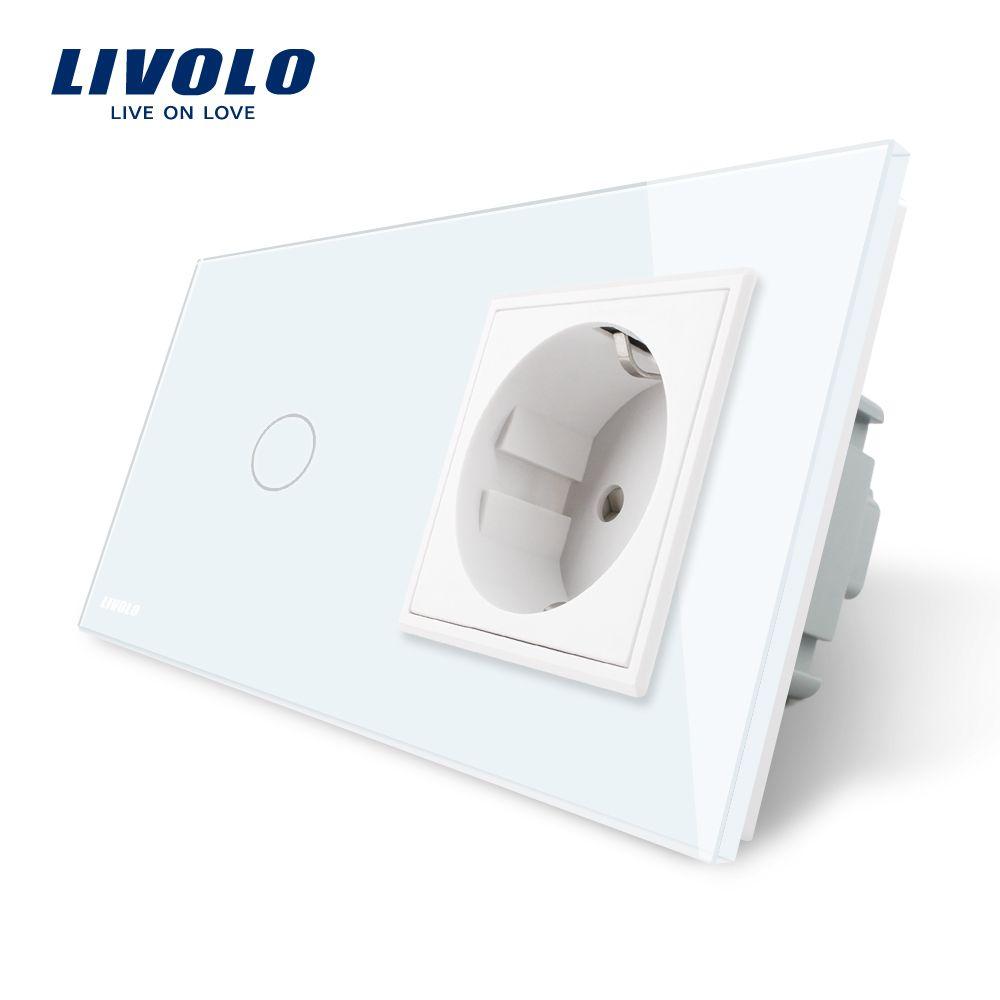 Interrupteur tactile standard Livolo EU, panneau en verre cristal blanc, prise murale AC 220 ~ 250V 16A avec interrupteur, VL-C701-11/VL-C7C1EU-11