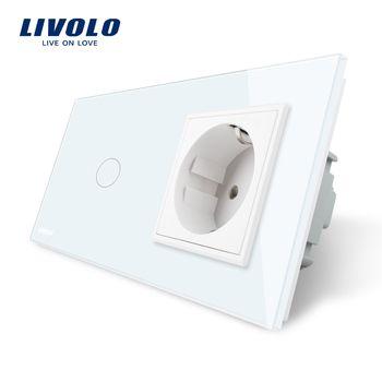 Livolo Стандартный ЕС сенсорный выключатель, белый кристалл Стекло Панель, AC 220 ~ 250 В 16A розетки с выключатель, VL-C701-11/VL-C7C1EU-11