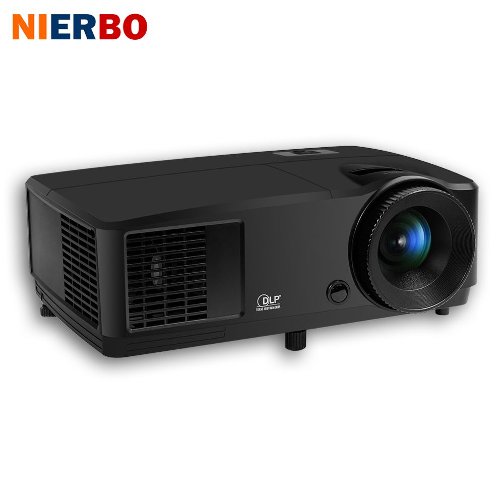 NIERBO 3D Projector Daytime Projector Full HD Beamer 1024*768 Native DLP Chip 203W lamp Support 1920*1080P HDMI Port 2800 Ansi