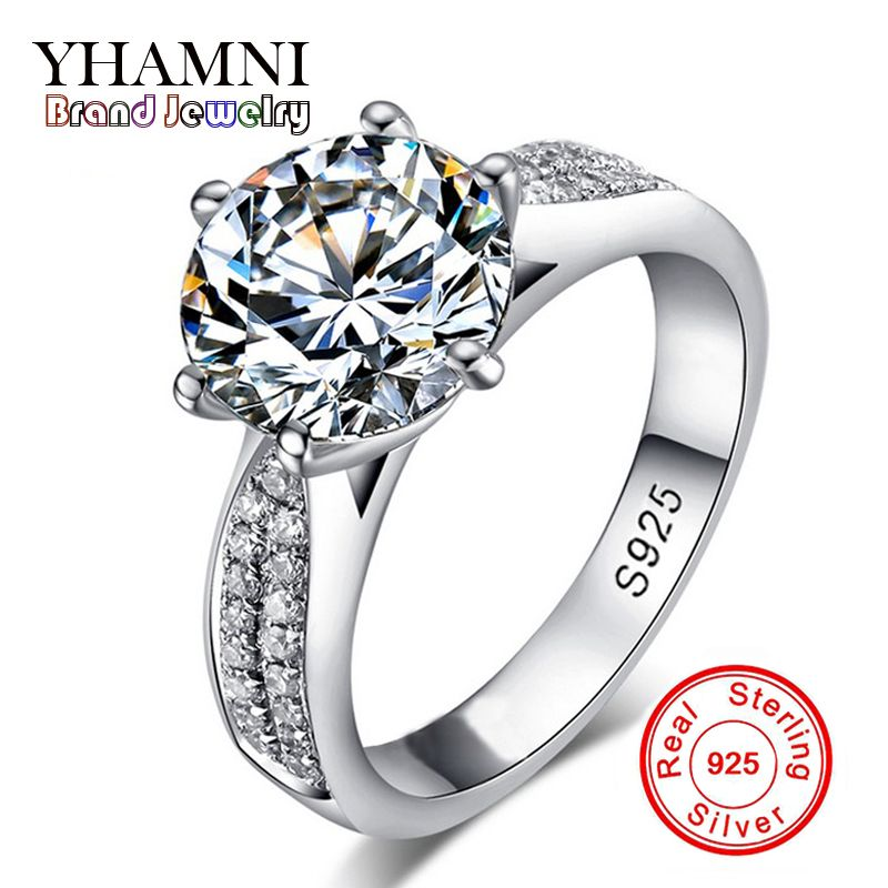 Lose Money Promotion! Fine Jewelry 100% Solid Sterling Silver Ring Inlay 2 Carat SONA CZ Diamant Wedding Rings for Women BKJZ012