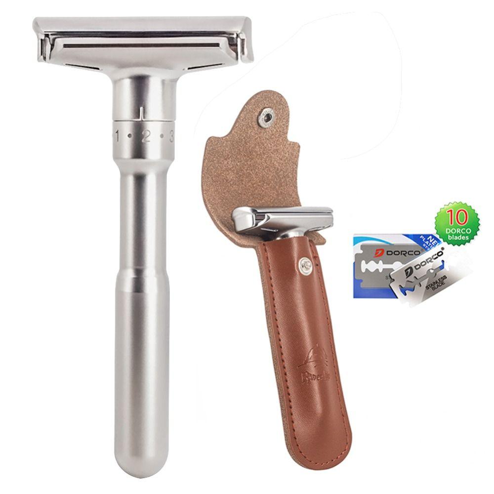 Rasoir de sécurité rasoir Pour Les Hommes Réglable Rasage De Près Classique Double Edge Rasoir lames de remplacement de couteau rasage ensemble