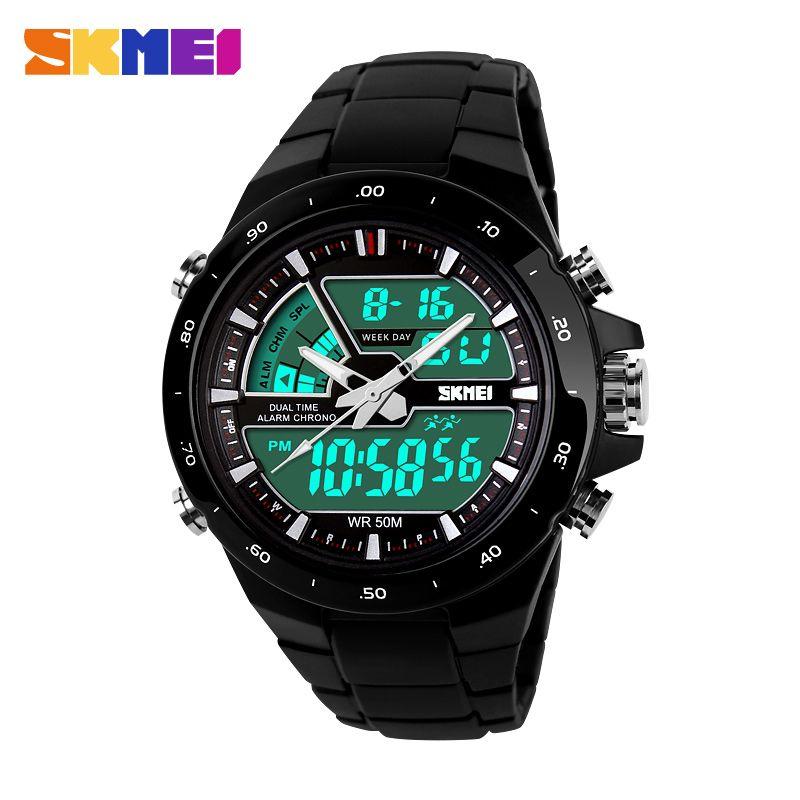 SKMEI Relogio Masculino hommes montres de sport mode 2 fois Chrono montre à Quartz hommes étanche double affichage de l'heure montres