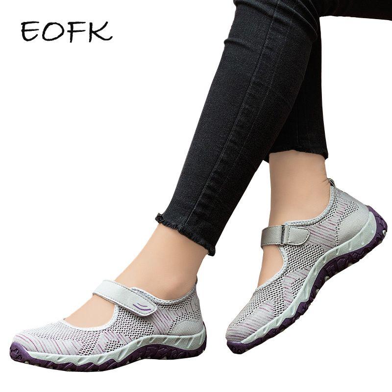 EOFK Femmes baskets Femme décontracté Appartements Mary Janes D'été Tissu Hoop & Boucle chaussures plates souples Confortables chaussures dames