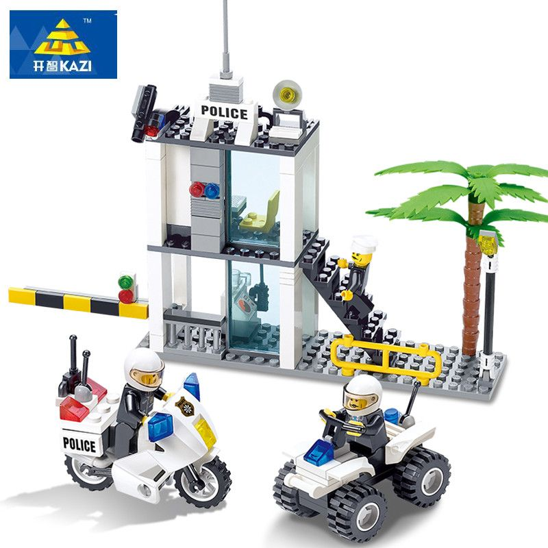 KAZI Police Series Building Blocks Compatible Legos City DIY Police Command Center Enlighten Bricks Blocks Sets For Children