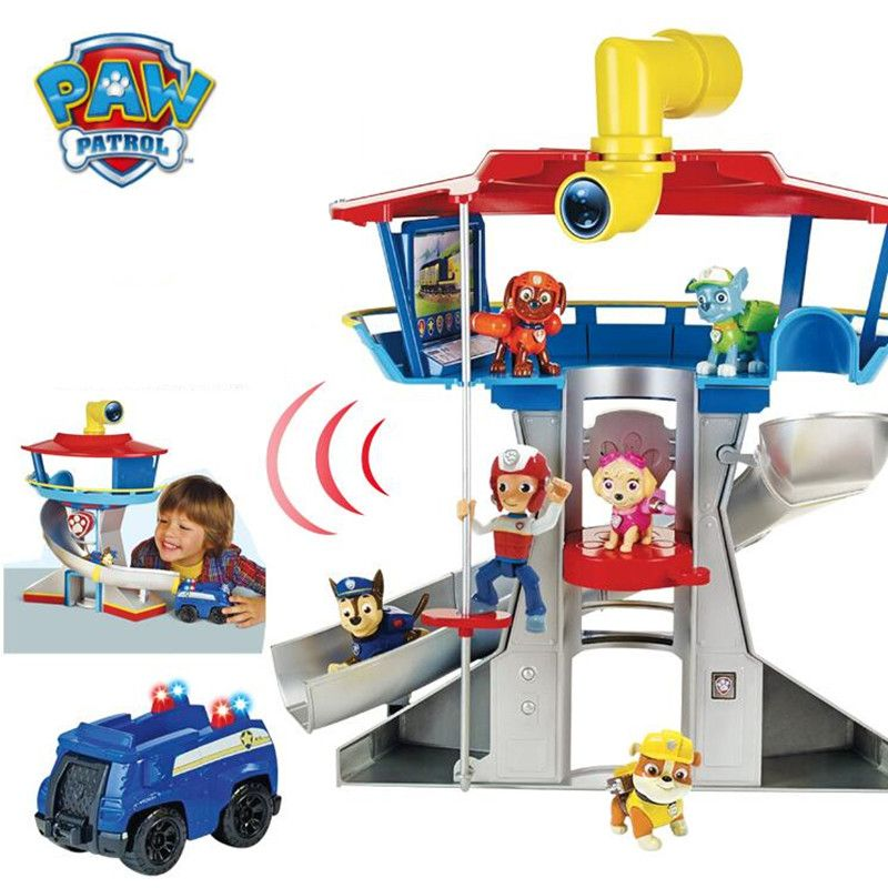 Paw Patrol Dog Puppy Patrol Car Action Figures Patrulla Canina Sound And Light Car Parking Lot Toy Set Kids Toys Gifts Hot Sale