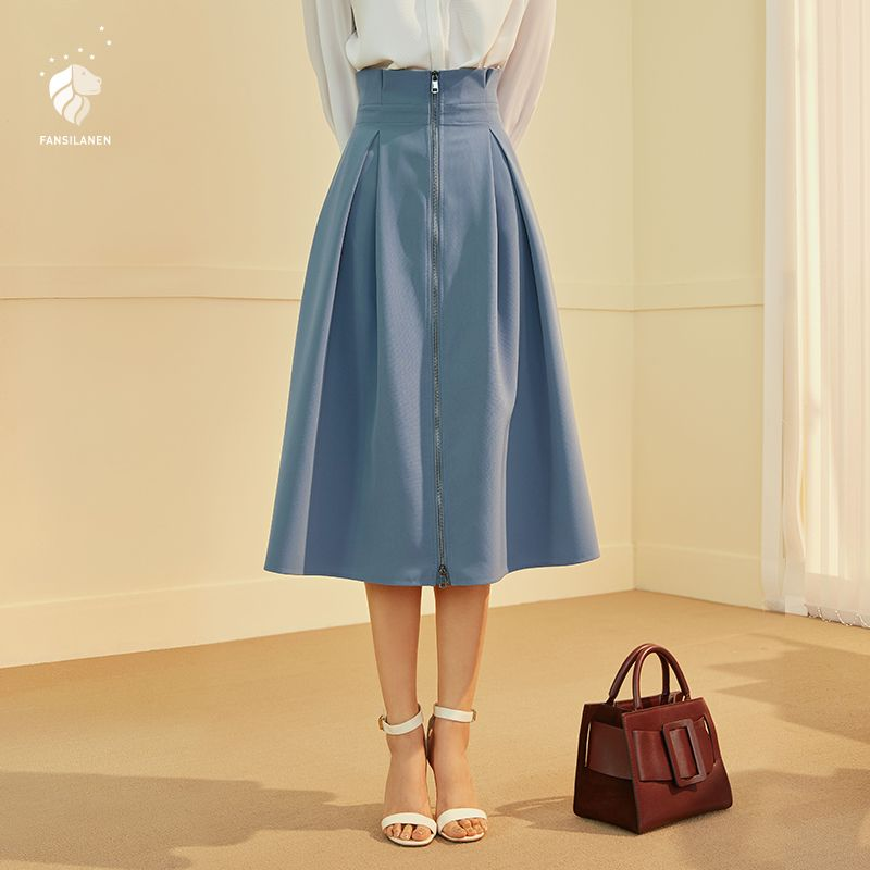 FANSILANEN New Arrival Fashion Autumn/Spring Casual Women Work Solid Brief Skirts Skater Skirt Maxi Skirt Z84077