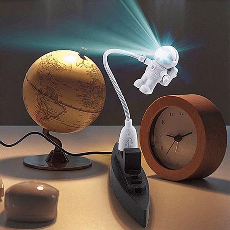 Neue Mini Weiß Flexible Spaceman Astronaut USB Rohr LED Nacht licht Lampe Für Computer Laptop PC Notebook Lesen Tragbare DC 5 V