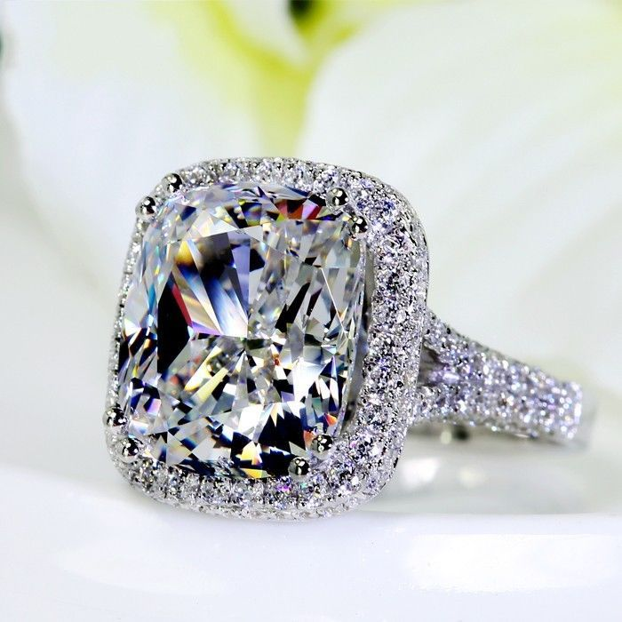 Size 5-11 Full 192pcs Tiny Zirconia 10ct Big Simulated stones AAA CZ 14kt white gold filled Wedding Pave Women Band Rings Lovers