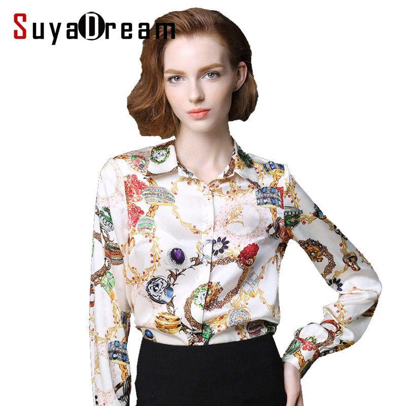 Pure mûrier soie blouse femmes à manches longues travail marque impression Satin Blusas femininas bureau dame STRETCH grande taille 2017 nouvelle chemise