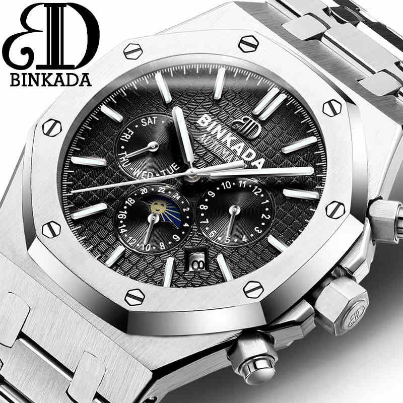 BINKADA 2016 Luxury Top Brand Sport Watch Mens Automatic Moon Phase Mechanical Wristwatches Fashion Stainless Steel Relogio Men