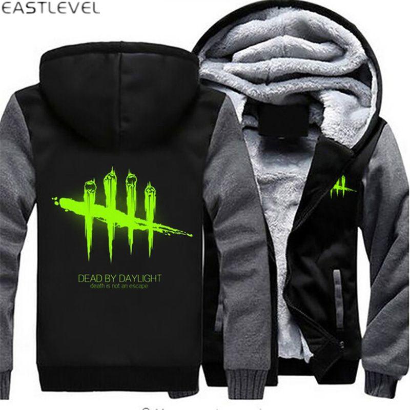 Hot Game Dead by Daylight Luminous Mens Hoodies Zipper Sweatshirt Jacket Winter Warmth Fleece Thicken Jacket Coat Plus Size 6XL