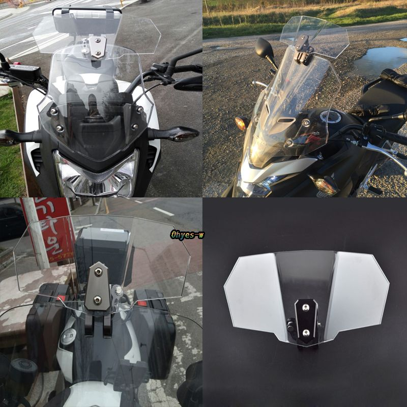 Airflow Adjustable Windshield Clear Variable Spoiler Windscreen Wind Deflector For Honda Yamaha Suzuki Kawasaki BMW Ducati KTM