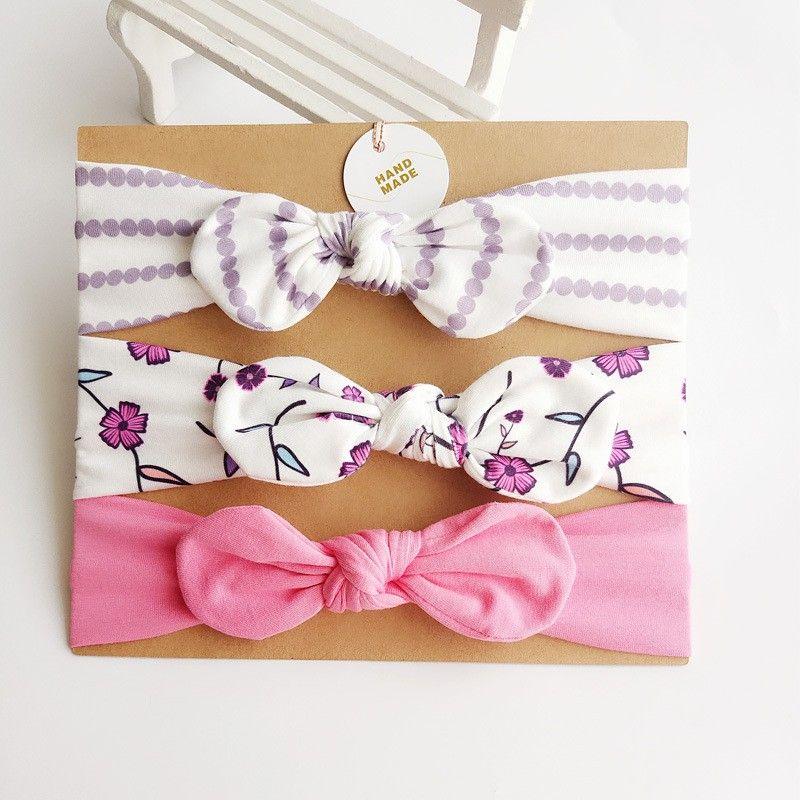 3 Pcs/set Fashion Cute Baby Kids Girls Flower Cotton Rabbit Ears Headband Bow Flower Hair Band Baby Accessories Headwears
