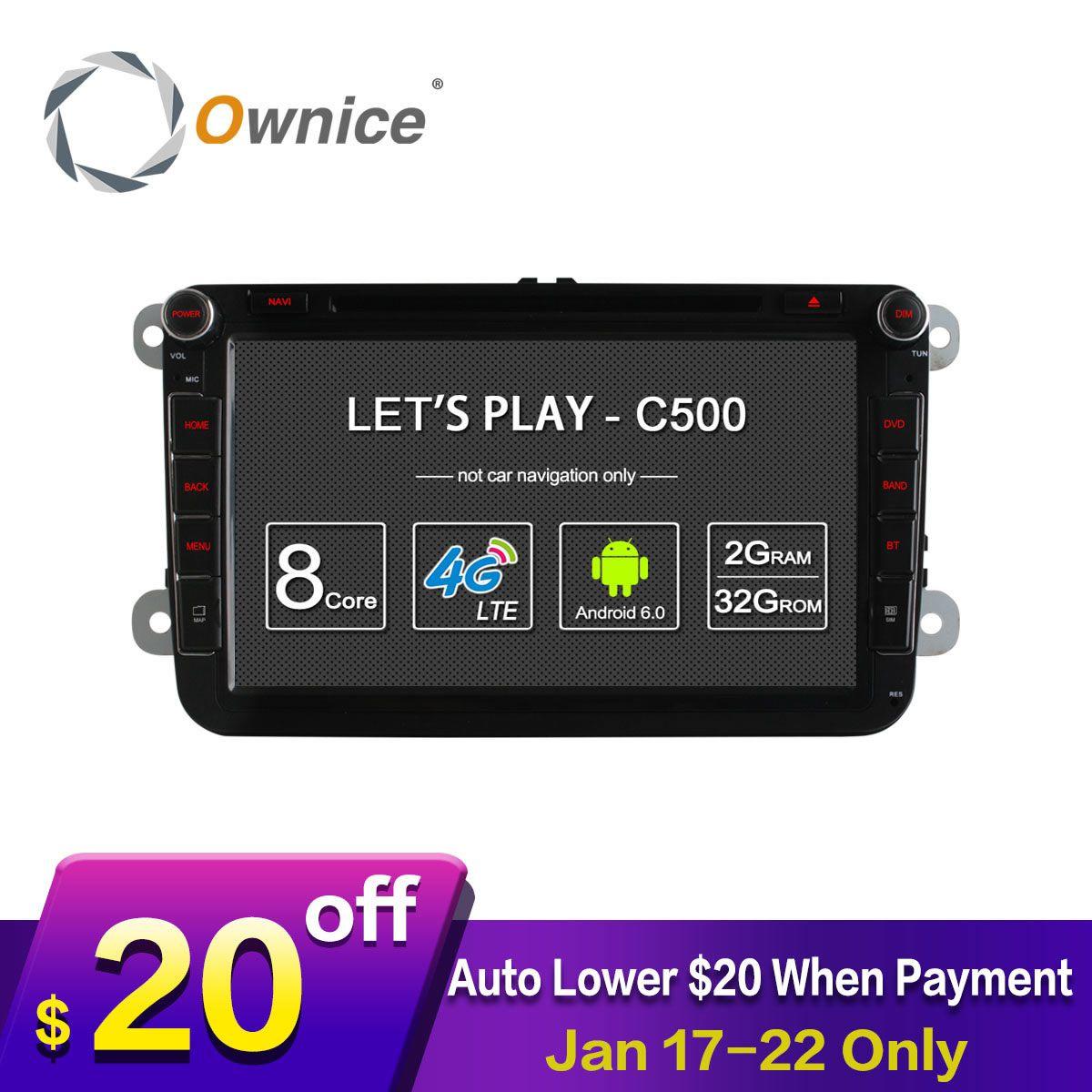 4 г SIM сети LTE ownice C500 Octa 8 core Android 6.0 2 г Оперативная память 2 DIN автомобильный DVD GPS navi Радио плеер для VW Skoda Octavia 2