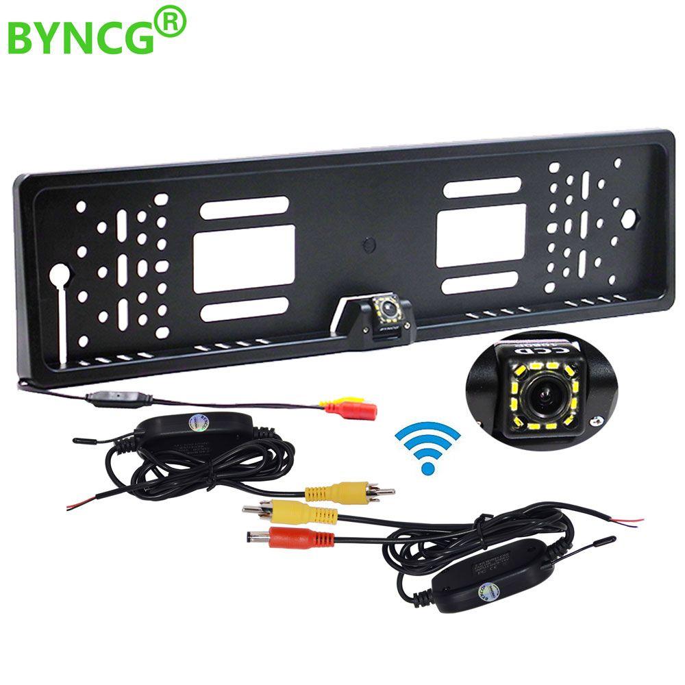 Caméra de recul sans fil Vision nocturne IR cadre de plaque d'immatriculation EU caméra de recul étanche pour moniteur gps