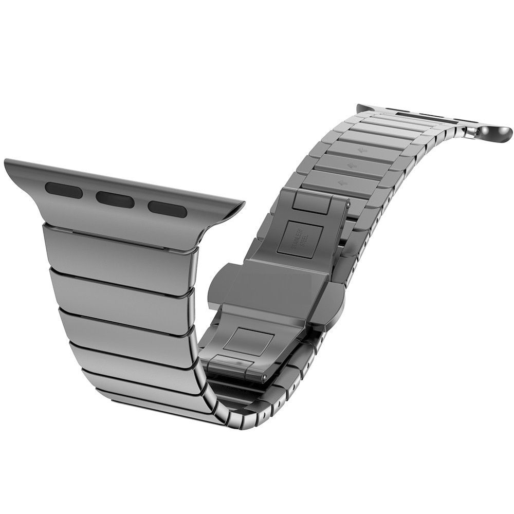 Calidad Superior Cierre de mariposa de bloqueo enlace de lazo de acero inoxidable para Apple Watch Band correa de pulsera de enlace 38mm 42mm para iwatch