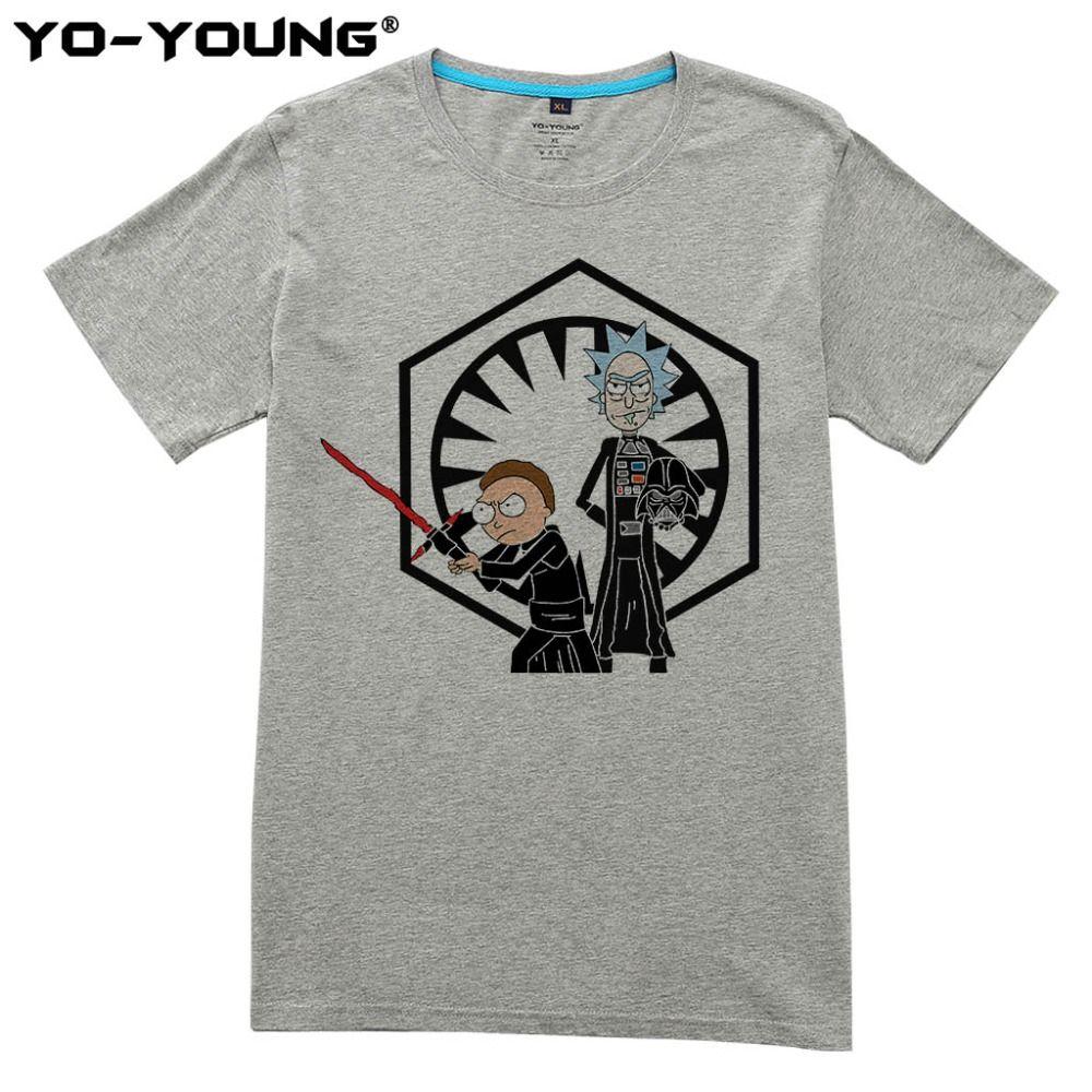 Rick Et Morty Hommes T-shirts Star Wars Drôle Conception Impression Numérique 100% 180 gsm Peigné Coton Casual Top T-shirts Homme personnalisé