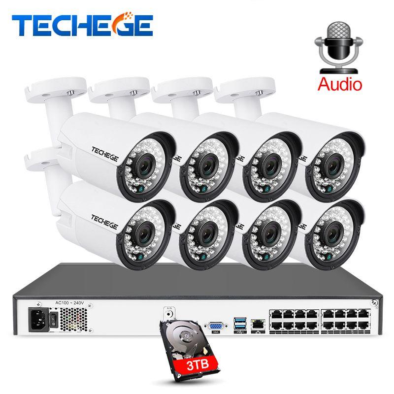 Techege 16CH 5MP POE NVR 2MP Kamera kit Outdoor 1080 P PoE IP Kamera Audio Record Onvif FTP CCTV System video Überwachung Kit