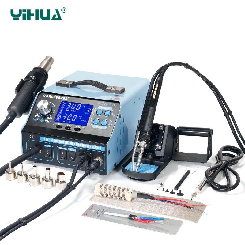 YIHUA 992DA+ Hot Air LCD Soldering Station Smoking Solder Iron With BGA Rework Station 4 In 1 Vacuum Pen